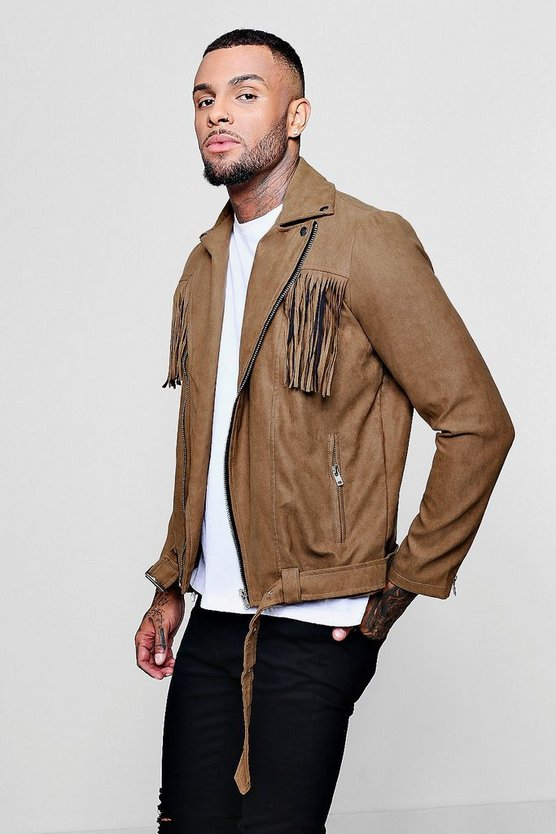 Mens Tan Faux Suede Tassel Jacket
