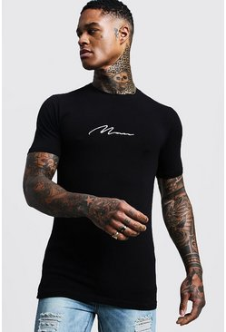 "Muscle-fit T-Shirt mit ""MAN""-Stickerei, Schwarz"