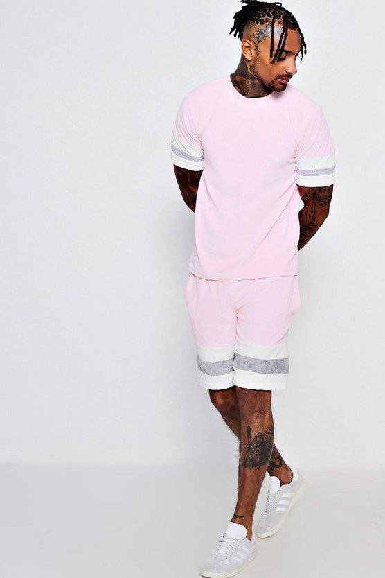 MAN Signature Colour Block Velour Short Tracksuit