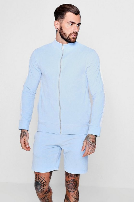 Mens Pale blue Skinny Fit Funnel Neck Velour Tracksuit