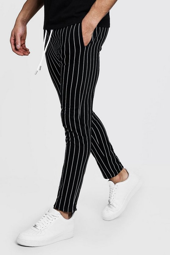 Mens Black Skinny Fit Striped Joggers