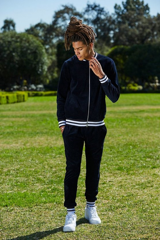 French Sports Rib Bomber Velour Tracksuit