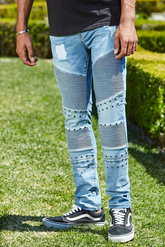 French Montana Super Skinny Blue Biker Studded Jeans