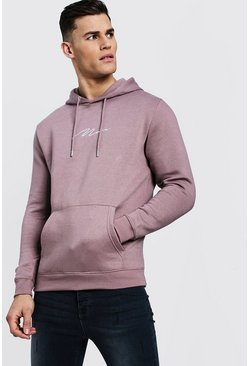 MAN Signature Embroidered Hoodie, Pumice stone, Uomo
