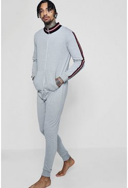 Mens Grey marl Funnel Neck Onesie With Sports Taping