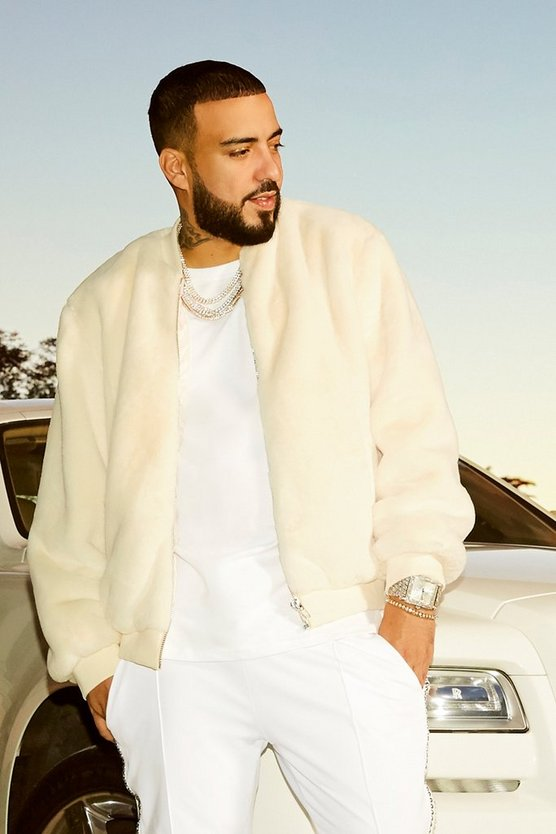 Mens Ivory French Montana Faux Fur Bomber