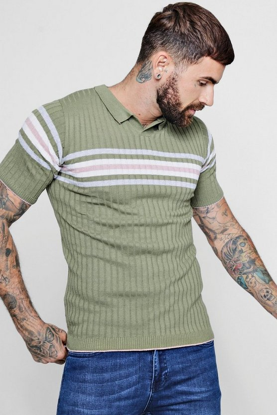Muscle Fit Colour Block Notch Neck Knitted T-Shirt