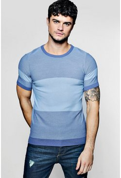 b9b8421118d5 Muscle Fit Colour Block Knitted T-Shirt | Boohoo