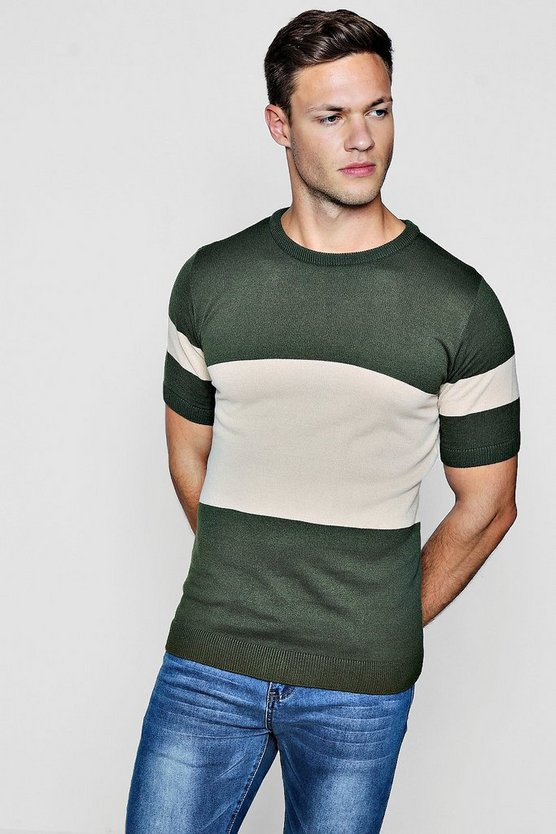 Khaki Muscle Fit Colour Block Knitted T-Shirt