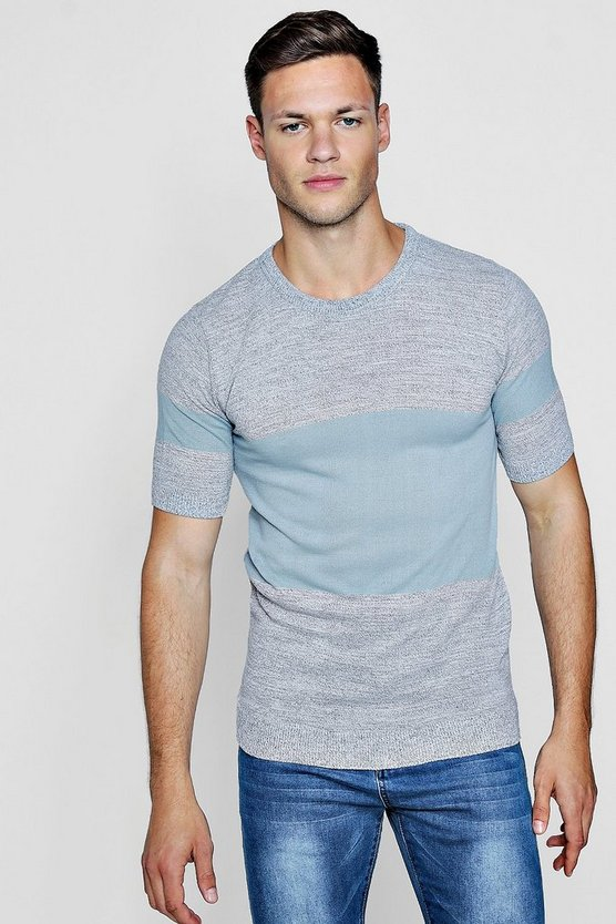 Mens Light grey Muscle Fit Colour Block Knitted T-Shirt