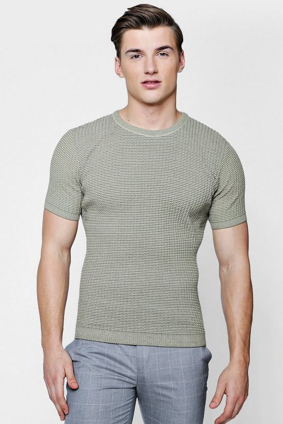 Muscle Fit Twisted Knit T-Shirt