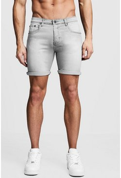 Stretch Skinny Fit Grey Denim Short, HOMBRE