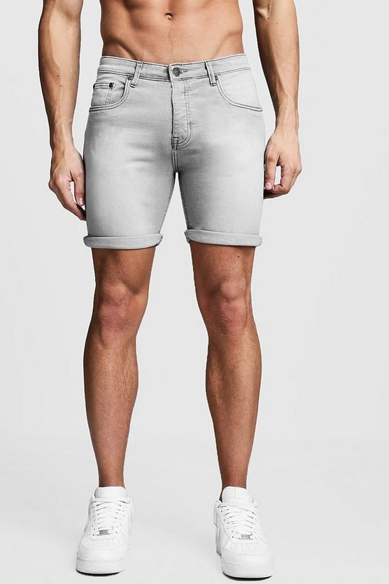 Mens Stretch Skinny Fit Grey Denim Short