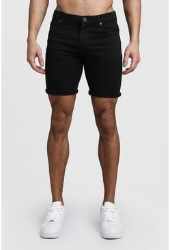 Herr Stretch Skinny Fit Black Denim Shorts