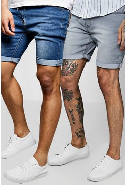 2 Pack Denim Shorts In Skinny Fit, Multi, HOMBRE