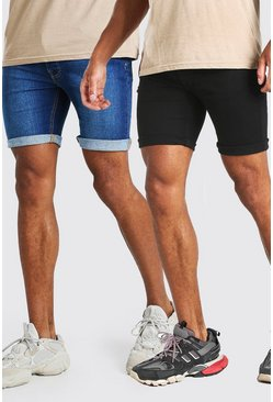 2 Pack Denim Shorts In Skinny Fit, Multi