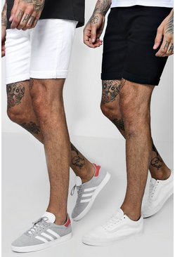 2 Pack Denim Shorts In Skinny Fit, Multi, Uomo