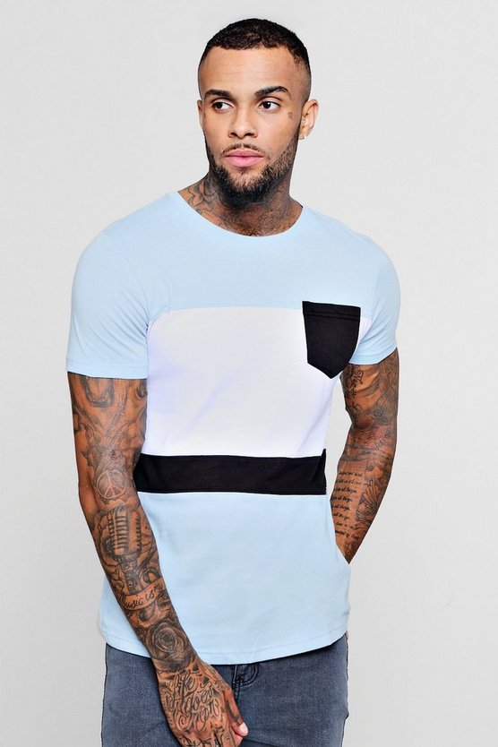 Colour Block Curved Hem T-Shirt With Pocket, Blue, Uomo