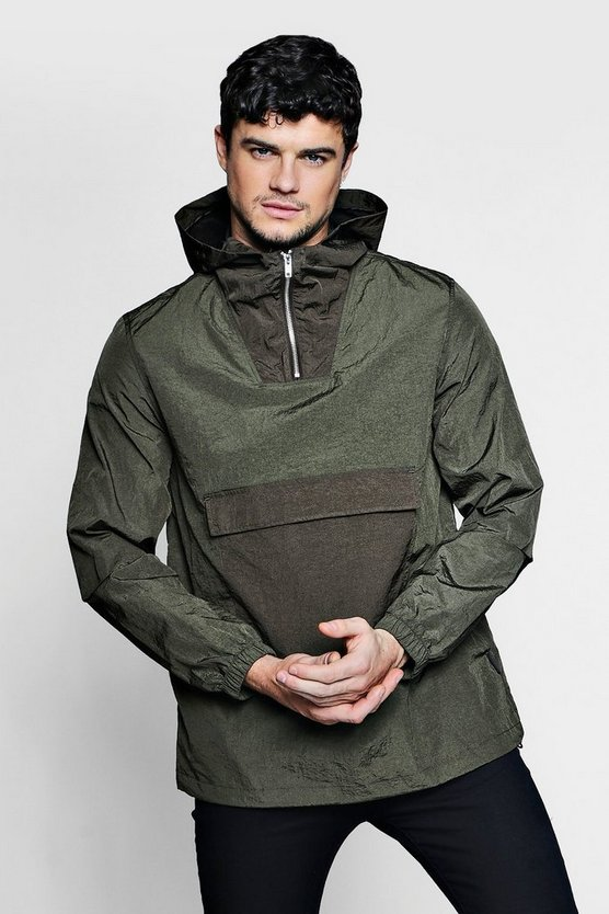 Hooded Cagoule With Front Pocket