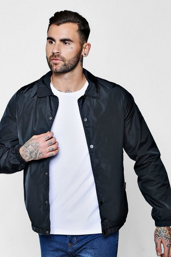 Black Popper Front Coach Jacket