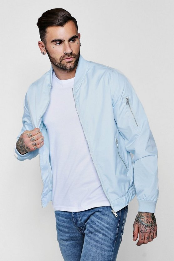 Blue MA1 Zip Bomber Jacket