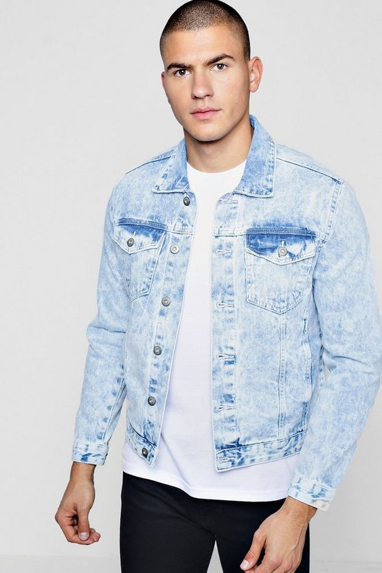 Mid Blue Distressed Denim Jacket