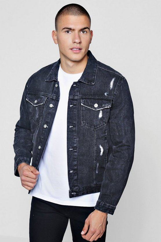 Mens Black Distressed Denim Jacket