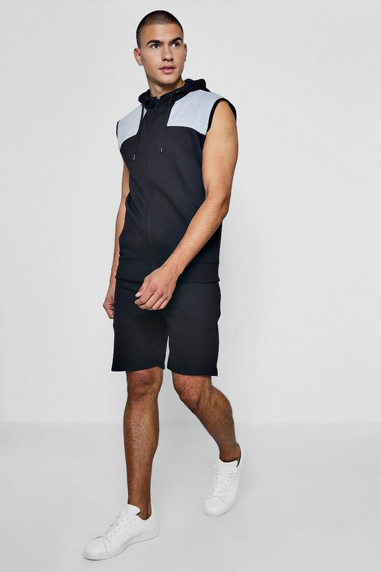 Mens Black Marl Panelled Hooded Top And Short Set