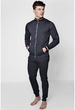 Mens Charcoal Zip Through Slim Fit Lounge Set