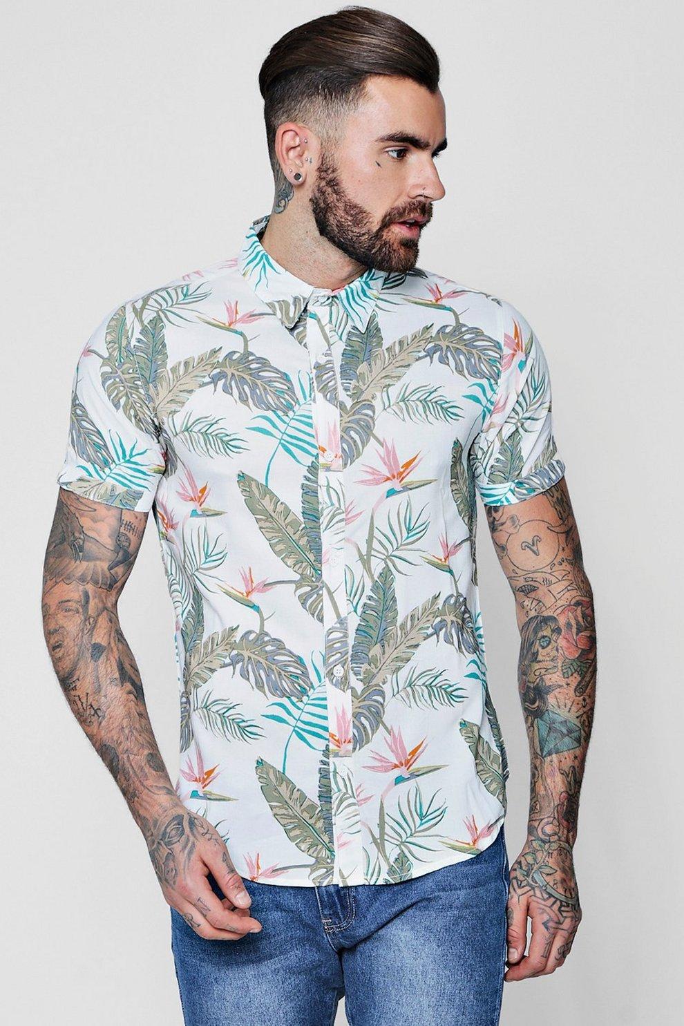 Chemise manches courtes à imprimé fleurs tropicales  d95d6f626c4