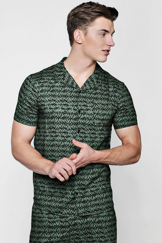 Khaki Printed Revere Short Sleeve Shirt