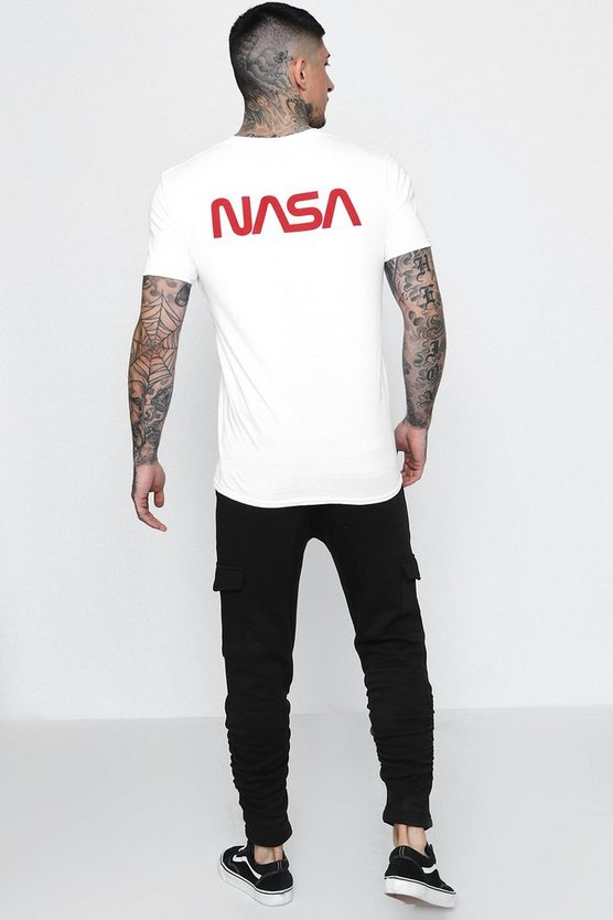 NASA Front And Back License T-Shirt, White, HERREN