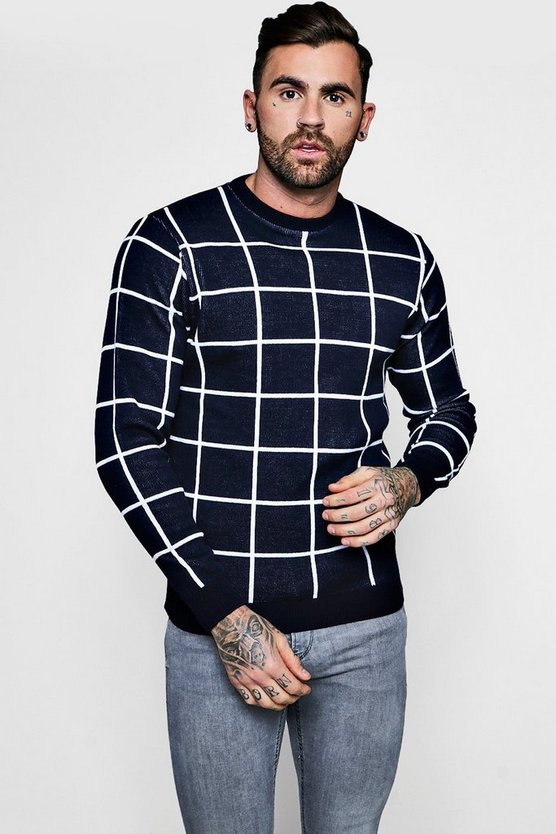 Grid Jacquard Knitted Jumper