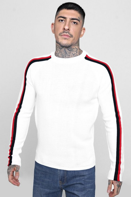 Raglan Sleeve Stripe Knitted Jumper