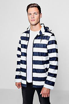water resistant striped jacket