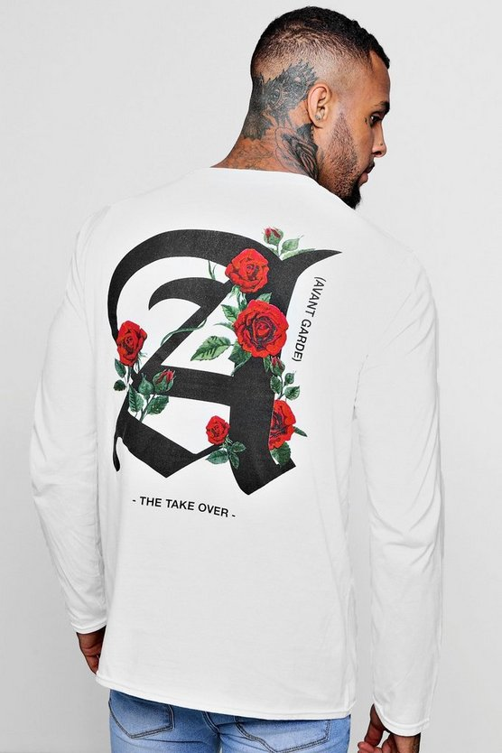 Mens White Long Sleeve Rose Letter Print T-Shirt