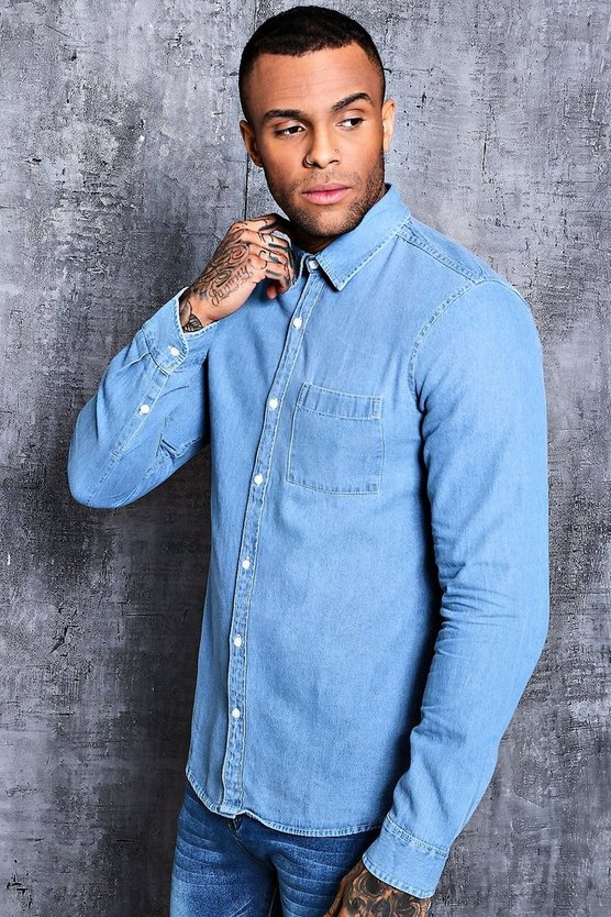 Denim Shirt In Pale Blue Wash