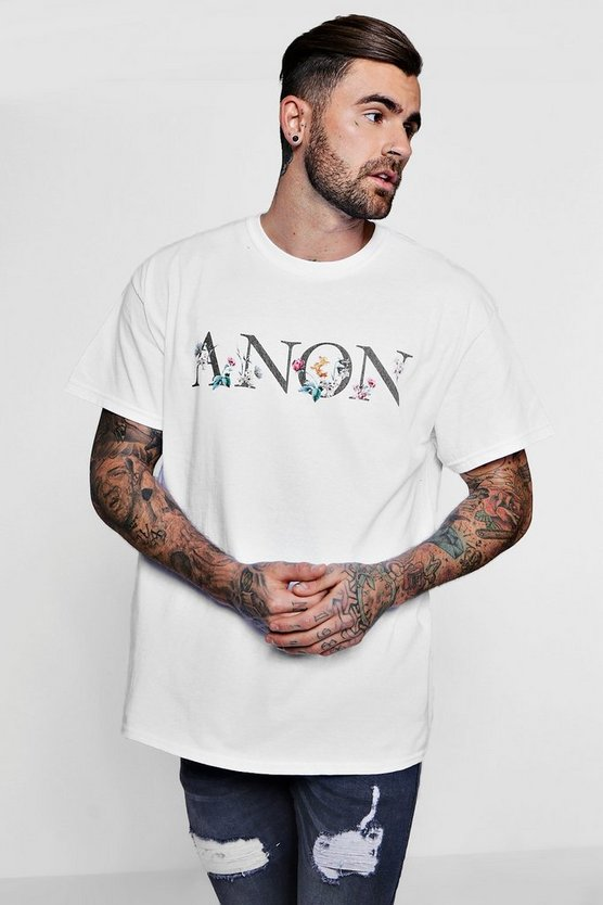 Oversized Anon Slogan Floral Print T-Shirt