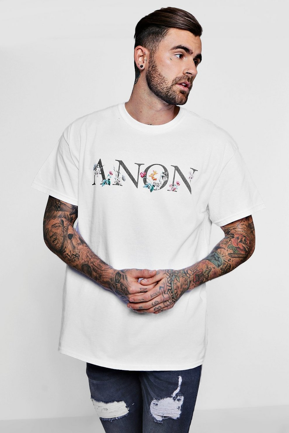 Oversized Anon Slogan Floral Print T Shirt