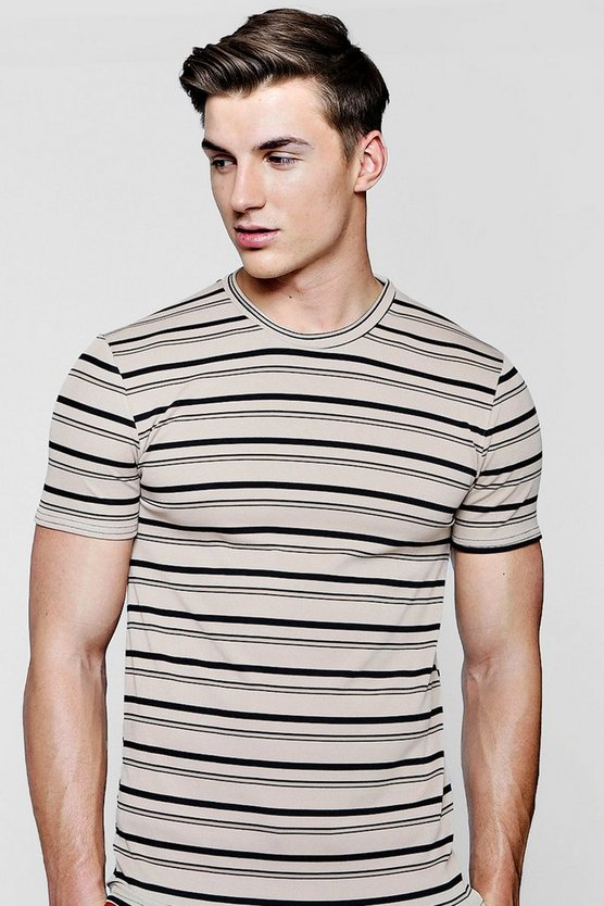 Muscle Fit Engineered Stripe T-Shirt