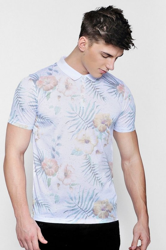 Tropical Floral Sublimation Print Polo