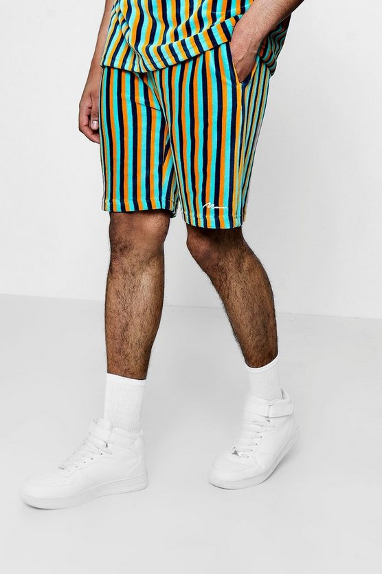 MAN Signature Velour Stripe Mid Length Shorts