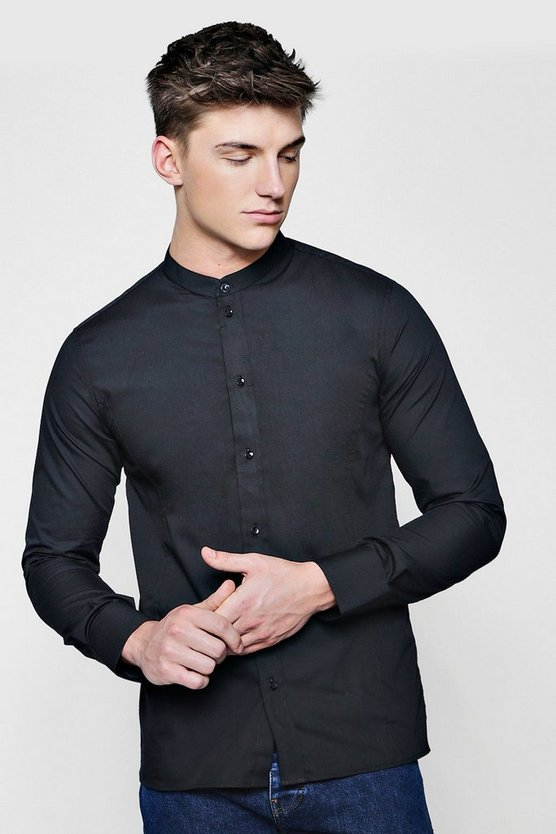 Grandad Neck Poplin Shirt