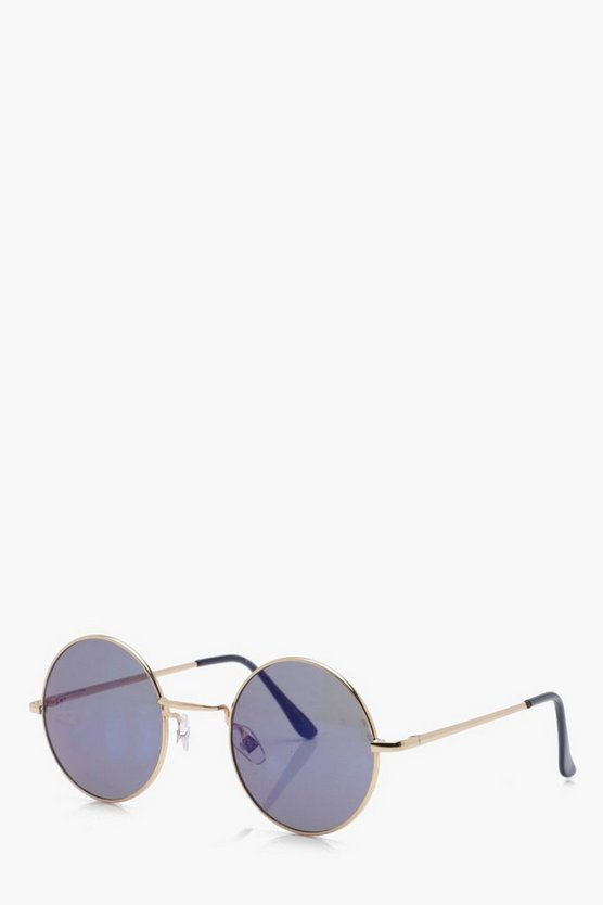 Faded Blue Lens Round Sunglasses