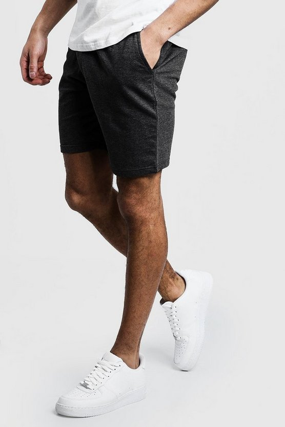 Mens Charcoal Jersey Mid Length Shorts