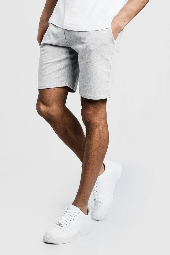 Mens Grey Jersey Mid Length Shorts