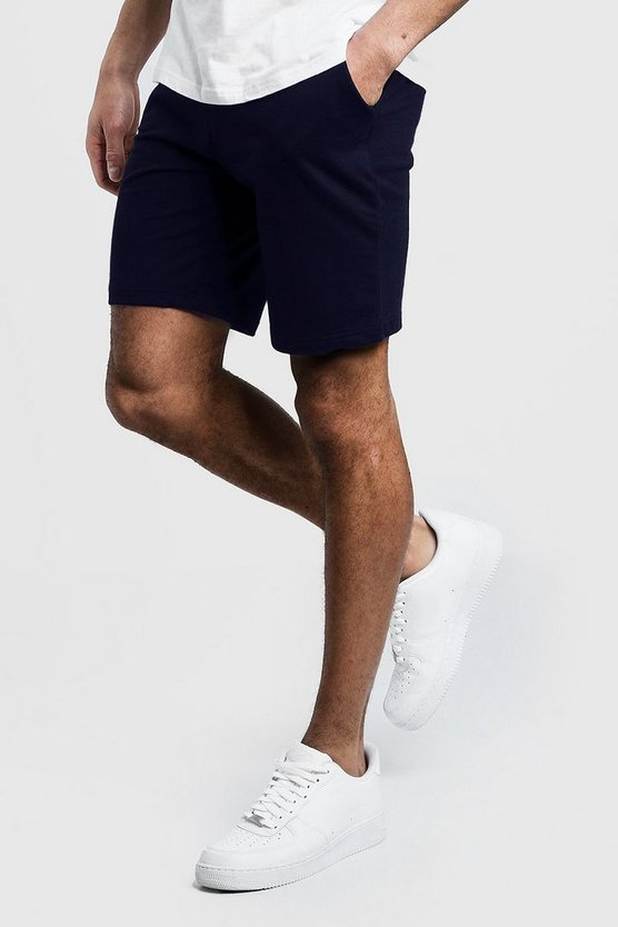 Mens Navy Jersey Mid Length Shorts