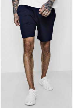 Navy Jersey Mid-Length Shorts