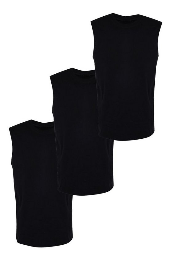3 Pack Basic Tank Vest In Regular Fit