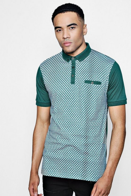 Mens Green Geo Front Button Down Jersey Polo